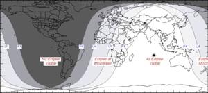 Видимость лунного затмения 7 августа 2017 года