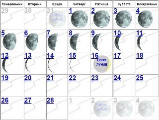 Луна убывает с 31 по 16 января 2018 года