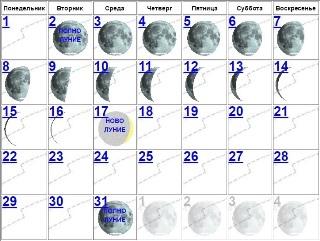Луна убывает с 2 по 17 января 2018 года